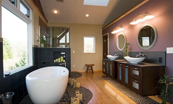 Badezimmer aus Asien spiegel licht holz