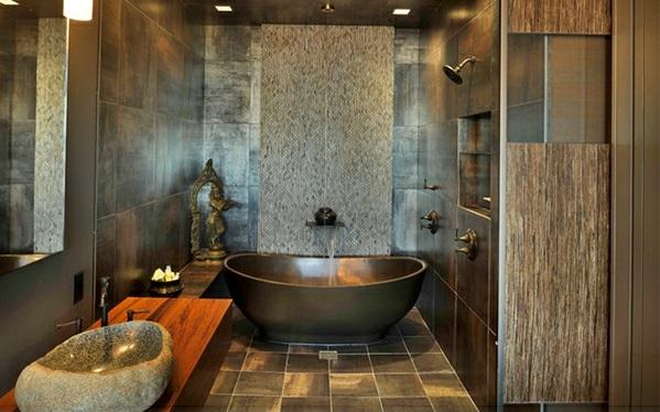 Badezimmer Asien wandgestaltung badewanne waschbecken