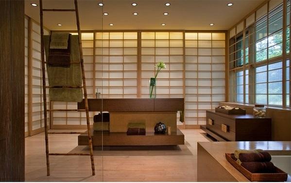 Badezimmer aus Asien wandgestaltung holz leiter