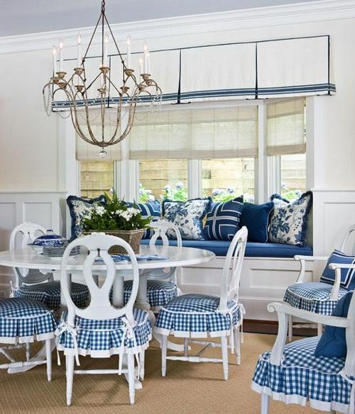 Baumwollstoff Vintage Stil küche weiß blau stoff