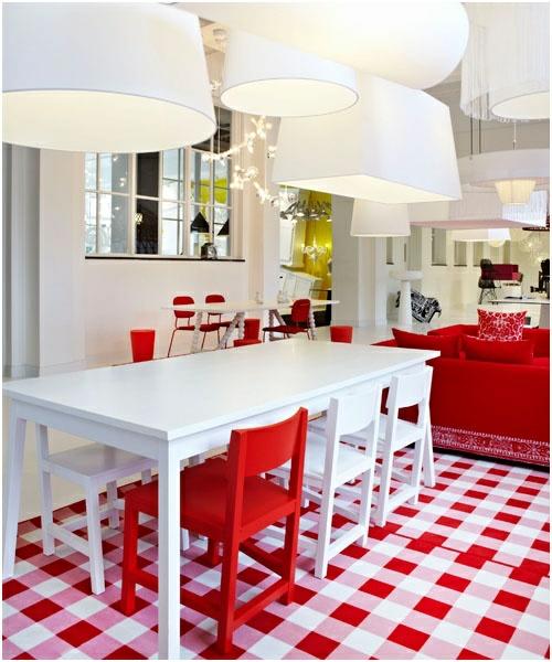 Baumwollstoff  Vintage Stil kühne rot farbe weiß küche