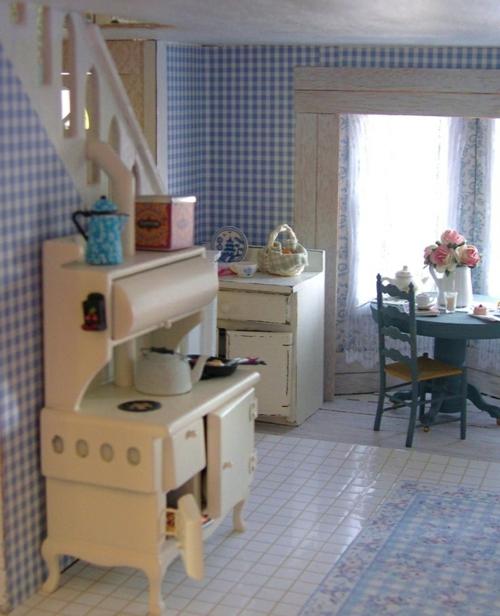 Baumwollstoff  Vintage Stil kommode küche fliesen