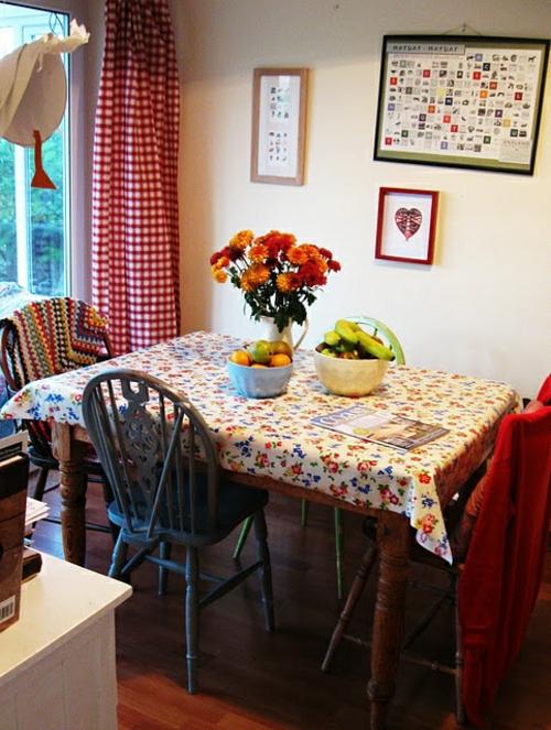 Baumwollstoff und Vintage Stil ländlich küche einrichtung