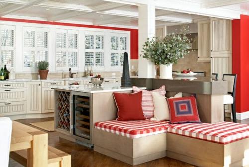 Baumwollstoff und Vintage Stil sitzbank rot kissen