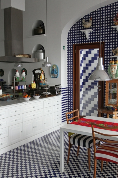 Baumwollstoff Vintage Stil wandgestaltung küche lampen