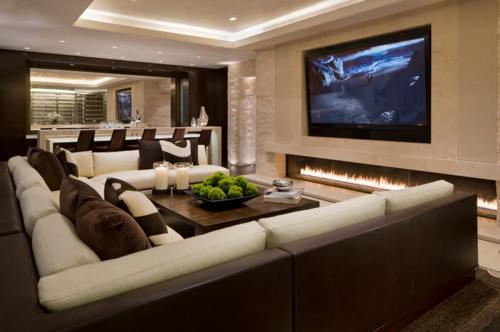 Bilder Einrichtungsideen sofa kamin ferneseher eingebaut