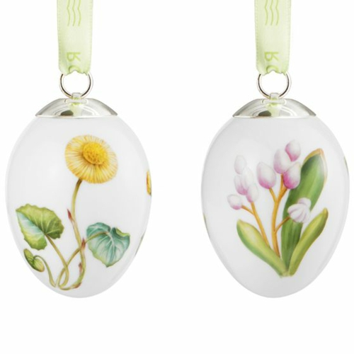 Ostereier basteln und bemalen gelb blüten