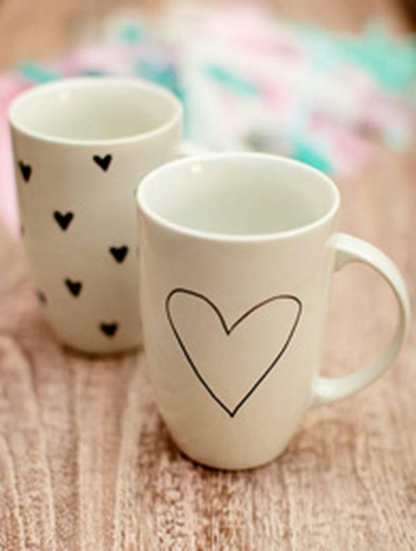 DIY Deko zum Valentinstag kaffee tasse marker permanent schrift