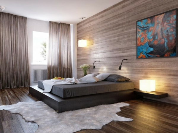 Das Schlafzimmer komplett gestalten holz wandverkleidung braun natürlich