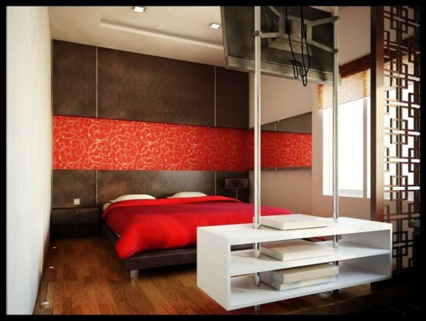 Das Schlafzimmer komplett gestalten rot blumen muster bettwäsche