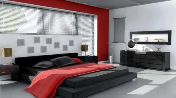 Das Schlafzimmer Komplett Gestalten Rot Wand Bettdecke Kommode