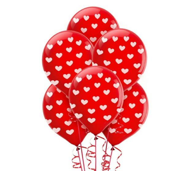 Dekoideen zum Valentinstag ballone herzen rot weiß