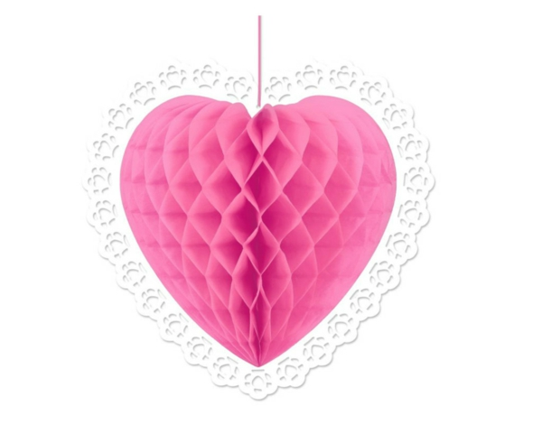 Dekoideen zum Valentinstag gardinen origami herz 3d