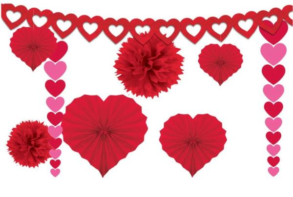 Dekoideen zum Valentinstag girlanden papier rot rosa