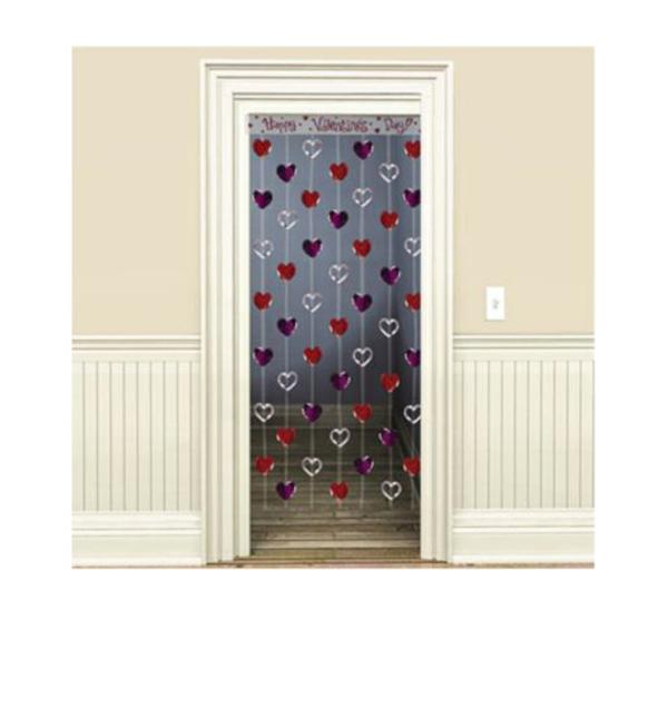 Dekoideen zum Valentinstag herz gardinen tür