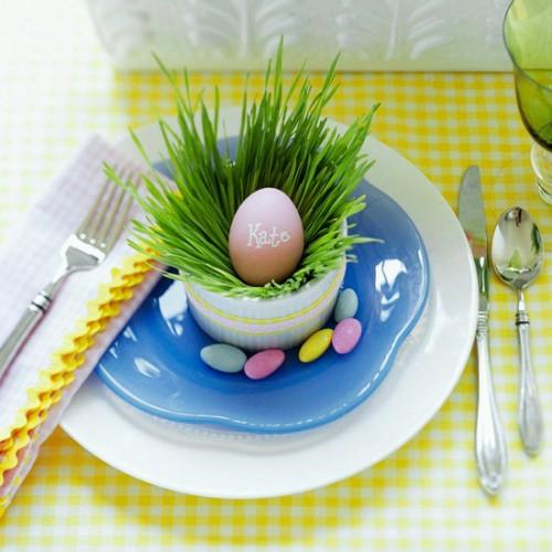 Eierhalter und Ständer Ostern bastel teller blau