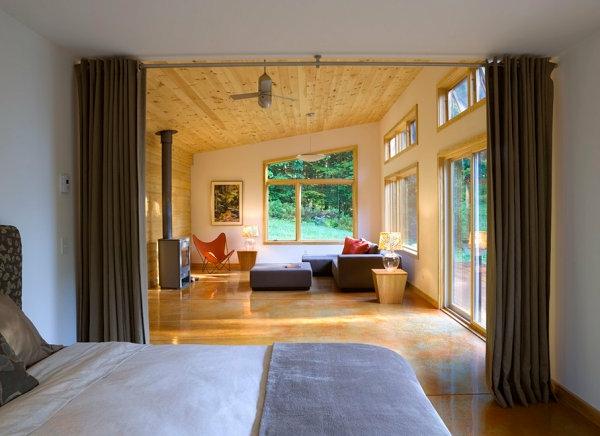 Einrichtungsideen für kleine Hütten modern gardinen raumteiler