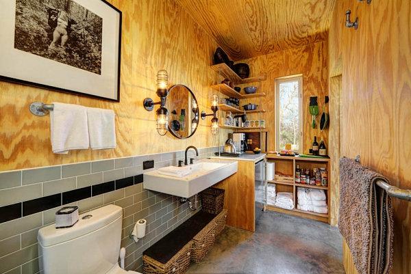 Einrichtungsideen kleine Hütten rustikal industriell badezimmer