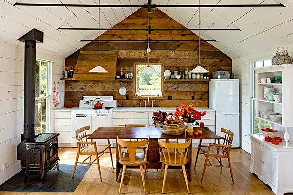 Einrichtungsideen kleine Hütten rustikal küche esszimmer