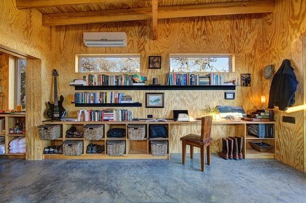 Einrichtungsideen für kleine Hütten rustikal regale