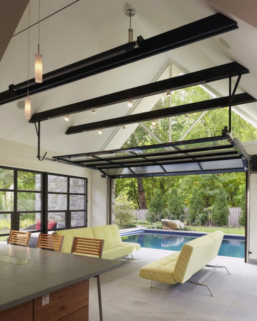 Einrichtungsideen offene Räume holz dachfenster natur umgebung