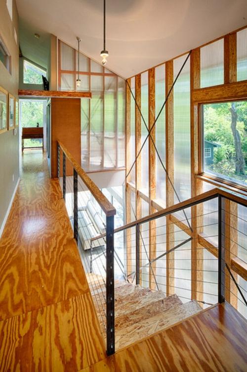 Einrichtungsideen offene Räume holz deckenhohe fenster treppe