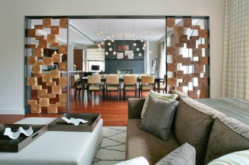 Einrichtungsideen für offene Räume holz sofa gardinen edelstahlrahmen