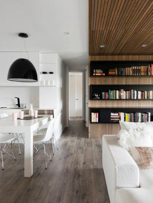 Einrichtungsideen für offene Räume holz wandregale zimmerdecke