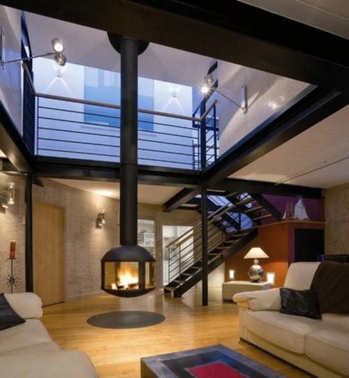 Einrichtungsideen für offene Räume kaminofen treppe stufen anwendung