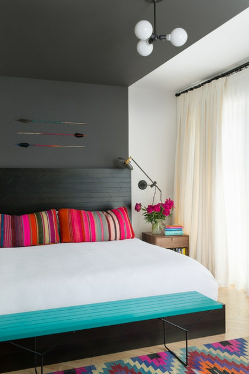 Einrichtungsideen für offene Räume kopfkissen schlafzimmer bunt