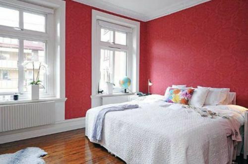 Einrichtungsideen schwedische Wohndeko rot wandgestaltung