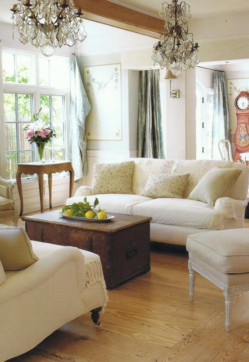 Einrichtungsideen schwedische Wohndeko sofas truhe