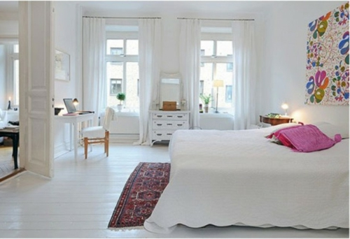 Einrichtungsideen schwedische Wohndeko weiß schlafzimmer