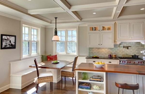 Essecke in der Küche gestalten sitzbank weiß