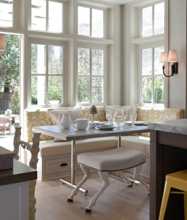 Esstisch mit Sitzbank holz auflage weiß gelb hocker