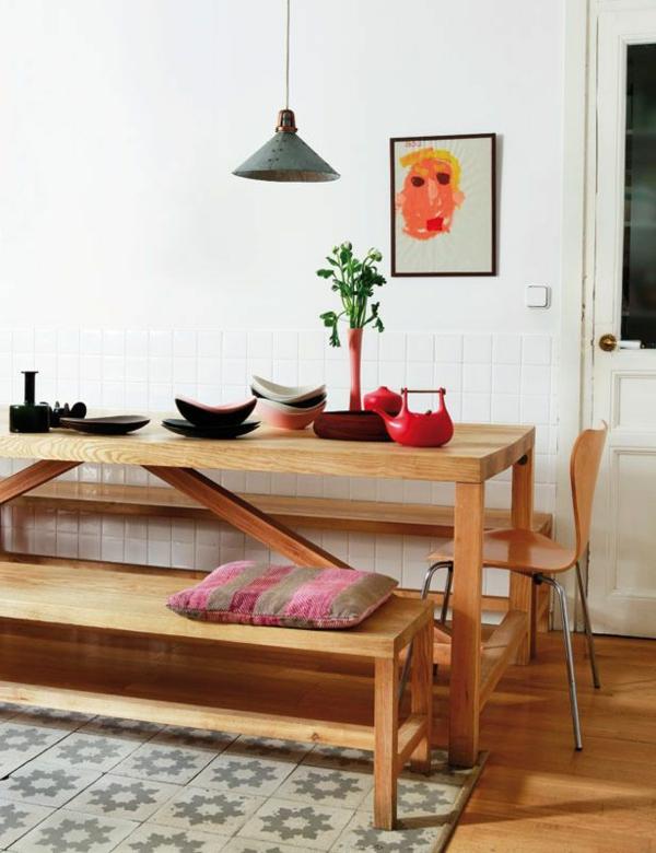 Esstisch mit sitzbank for Esstisch holz natur
