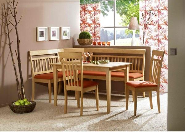 Esstisch mit Stühlen hohe lehnen orange auflagen