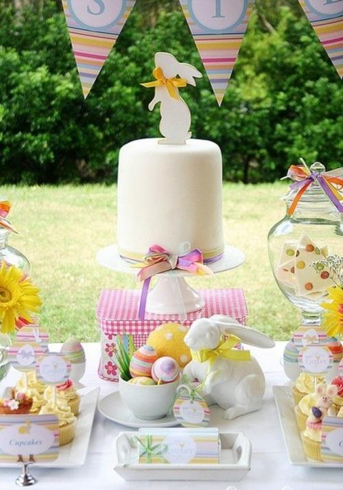 Festliche Dekoideen zu Ostern garten party torte
