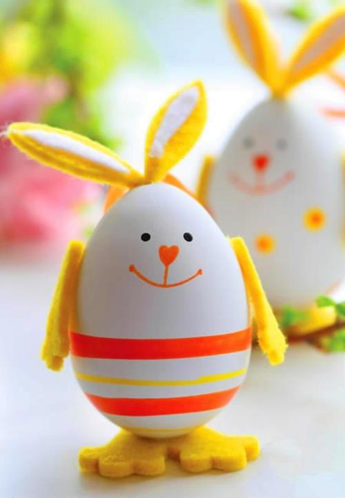 Festliche Dekoideen Ostern gelb osterhase eier