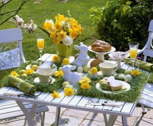 Festliche Dekoideen Ostern gelb tischdeko garten
