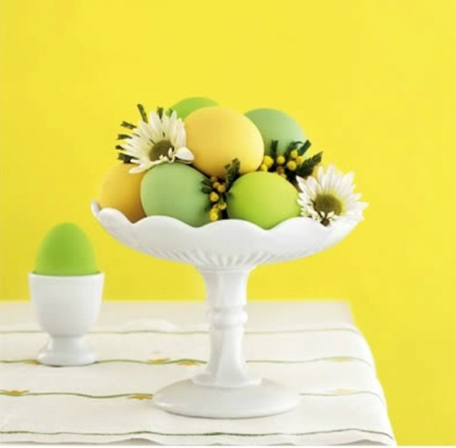 Festliche Dekoideen zu Ostern gelb wand