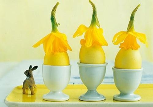 Dekoideen zu Ostern keramisch eierhalter narzissen