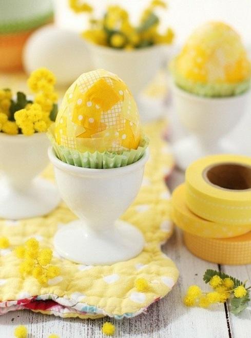 Dekoideen zu Ostern keramisch eihalter gelb