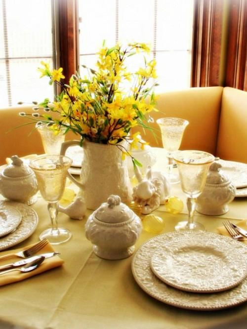 Dekoideen zu Ostern keramisch teller schalen gelb tisch