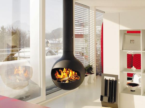 Freistehender Kaminofen Und Feuerstelle