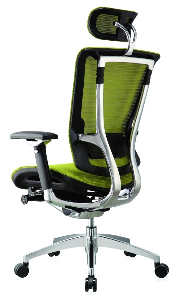 Bürostühle und Bürosessel schwarz leuchtend grün kopflehne