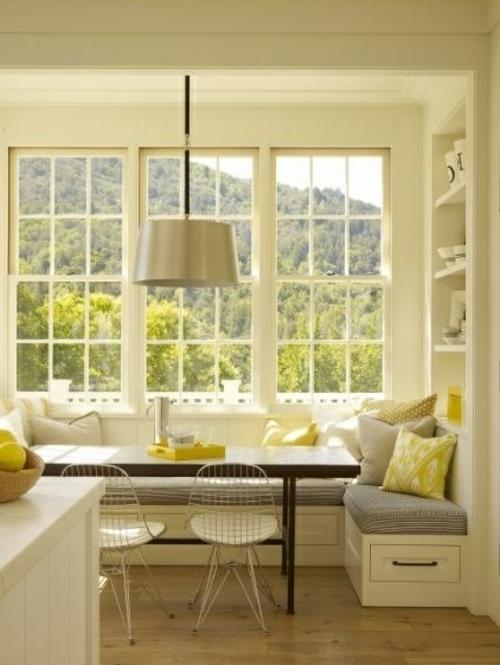 Gemütliche Küche Landhausstil sitzbank lampenschirm