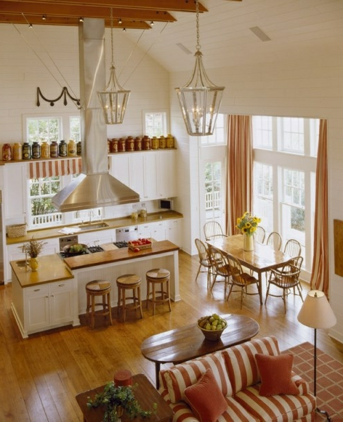 Gemütliche Küche Landhausstil einrichten sofa streifen