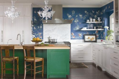 Innenarchitekt design küche tapeten blumen spüle
