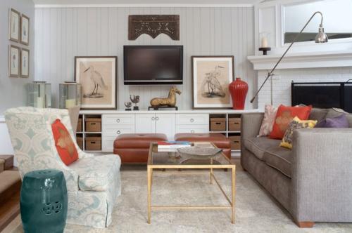 Innenarchitekt design wohnzimmer sofa rot vase kissen